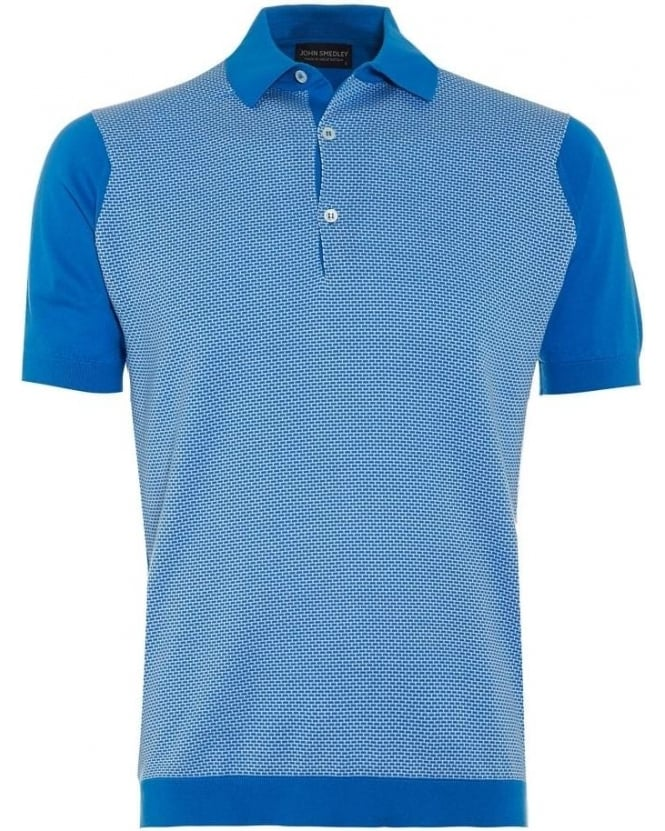 John Smedley Mens Polo Shirt Horst Alpine Blue White Colour Block Polo