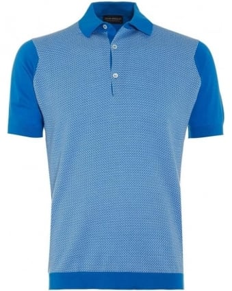 Mens Polo Shirt Horst Alpine Blue White Colour Block Polo