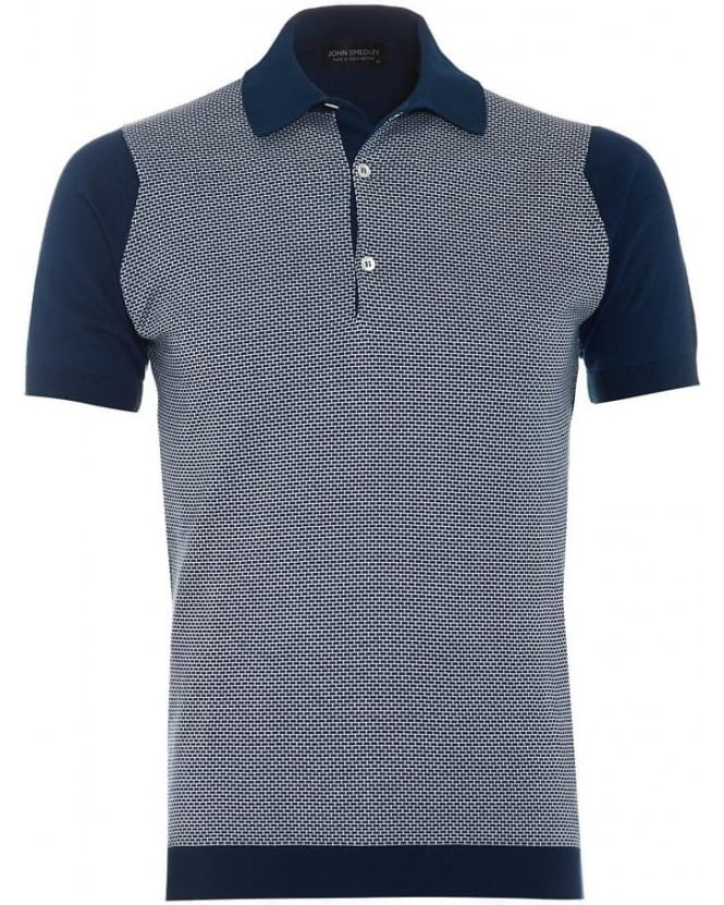 John Smedley Mens Polo Shirt Horst Indigo White Colour Block Polo