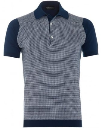 Mens Polo Shirt Horst Indigo White Colour Block Polo