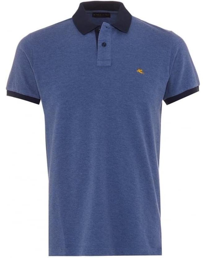 Etro Mens Polo Shirt Logo Contrast Navy Tipped Blue Polo