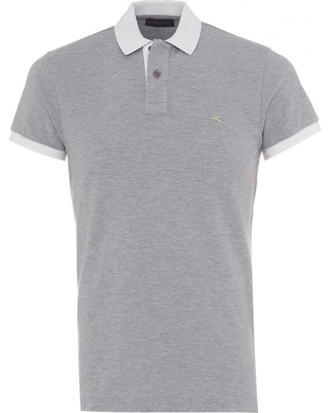 ETRO Mens Polo Shirt Logo Contrast White Tipped Grey Polo