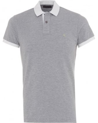 Mens Polo Shirt Logo Contrast White Tipped Grey Polo