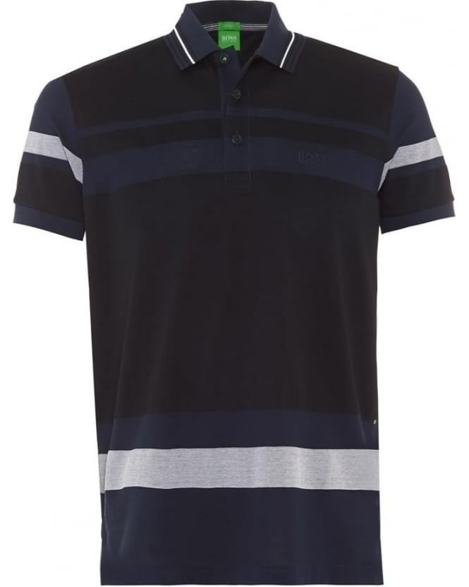 Hugo Boss Green Mens Polo Shirt Paddy 1 Navy White Stripe Modern Fit