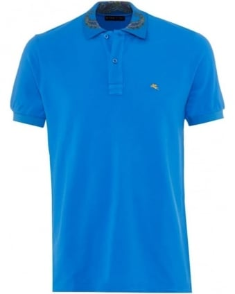 Mens Polo Shirt Paisley Collar Blue Logo Polo