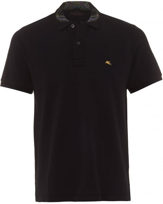 Etro Mens Polo Shirt Paisley Collar Logo Plain Black Polo
