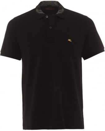 Mens Polo Shirt Paisley Collar Logo Plain Black Polo