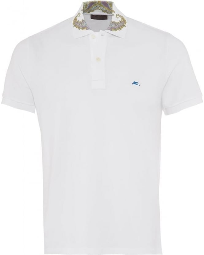 Etro Mens Polo Shirt Paisley Collar Logo White Polo