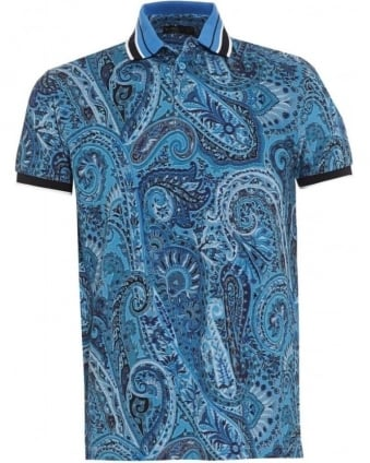 Mens Polo Shirt Paisley Tipped Blue Polo