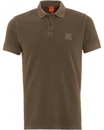 Mens Polo Shirt Pascha Slim Fit Khaki Green Polo