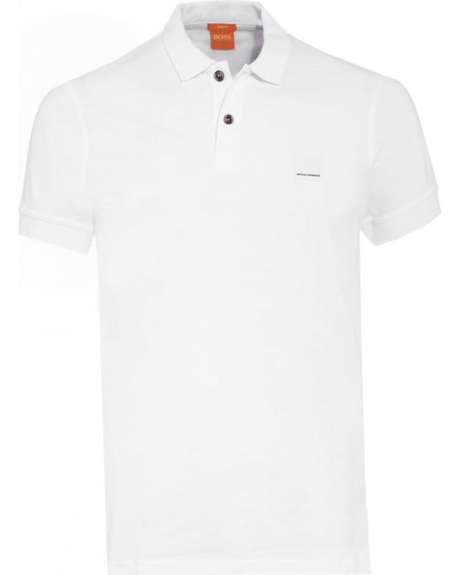 Hugo Boss Orange Mens Polo Shirt Pascha Slim Fit White Polo