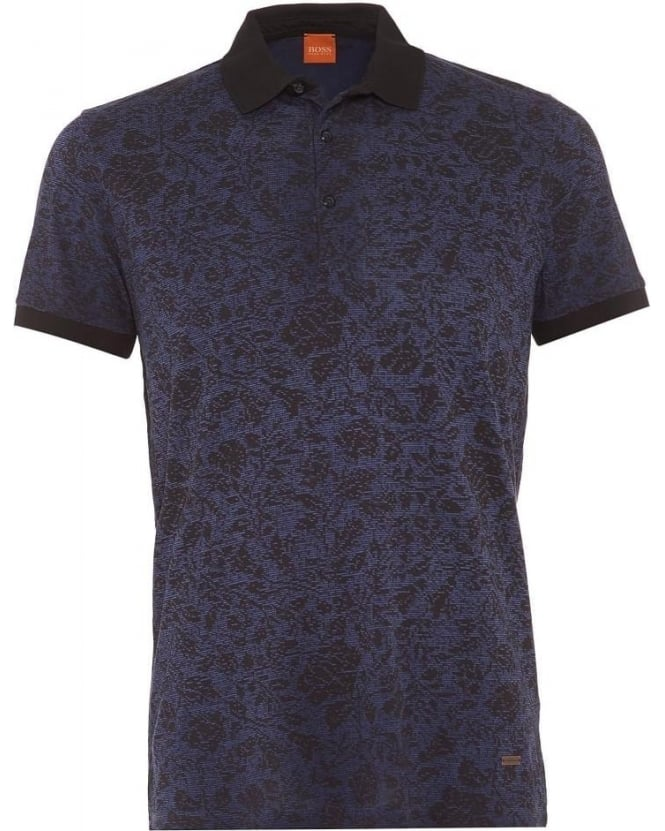 Hugo Boss Orange Mens Polo Shirt Phlox Dark Blue Floral Polo