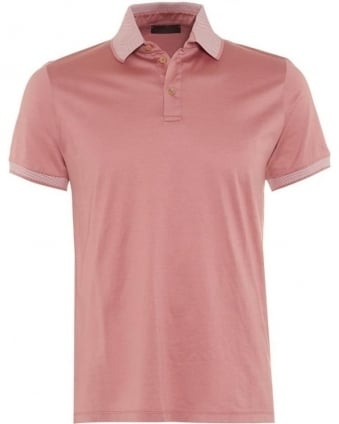Mens Polo Shirt, Pink Polka Dot Contrast Collar