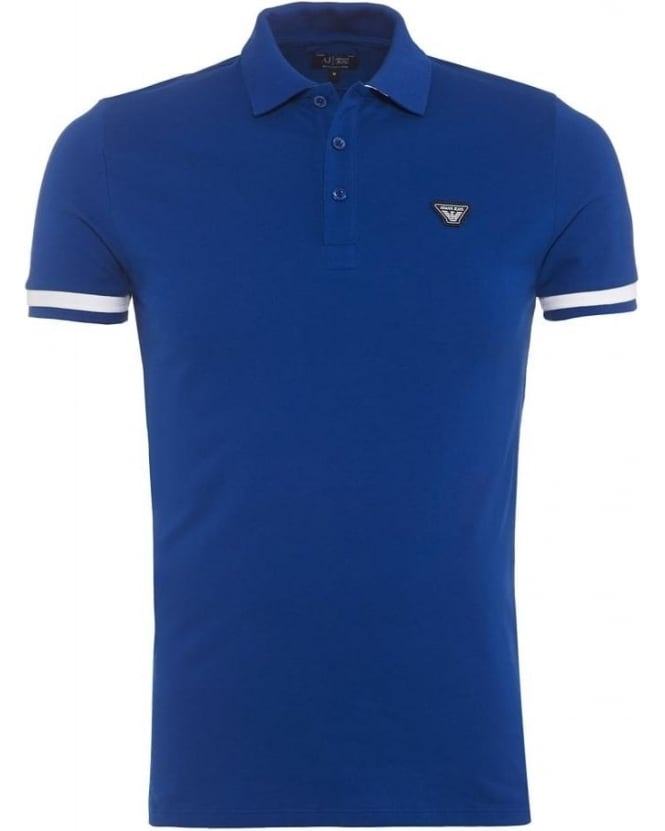 Armani Jeans Mens Polo Shirt Royal Blue White Tip Slim Fit Polo