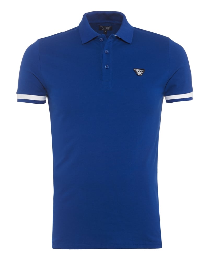 Armani jeans mens polo shirt royal blue white tip slim fit for Polo shirt and jeans