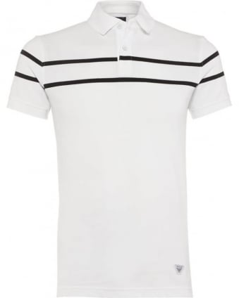 Mens Polo Shirt White Dual Stripe Slim Fit Polo