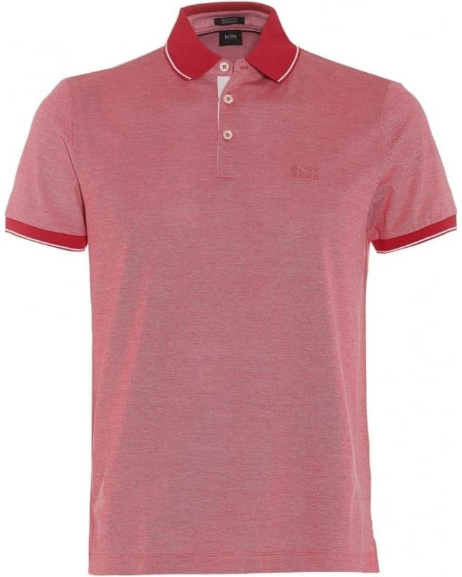 Hugo Boss Black Mens Prout 01 Polo Shirt, Dark Pink Regular Fit Polo