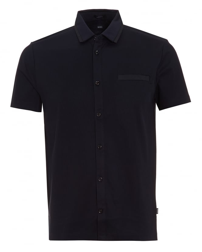 Hugo Boss Black Mens Pruno 02 Polo Shirt, Ribbed Slim Button Through Navy Polo