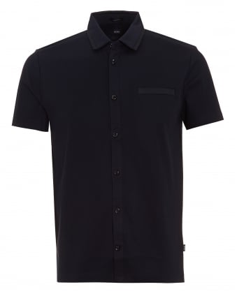 Mens Pruno 02 Polo Shirt, Ribbed Slim Button Through Navy Polo