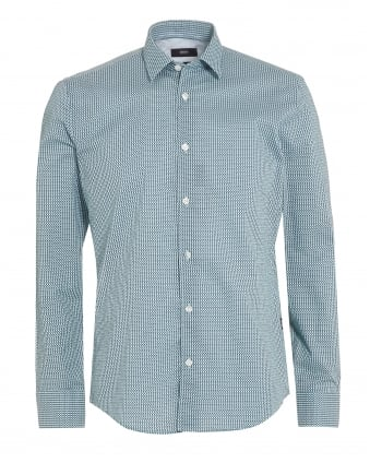 Mens Reid 27 Shirt, Mint Green Honeycomb Slim Shirt