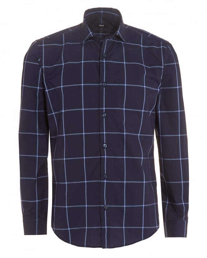 Hugo Boss Black Mens Ridley_F Shirt, Navy Sky Blue Large Check Slim Shirt