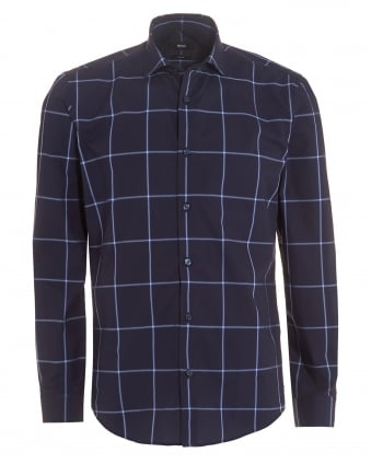 Mens Ridley_F Shirt, Navy Sky Blue Large Check Slim Shirt