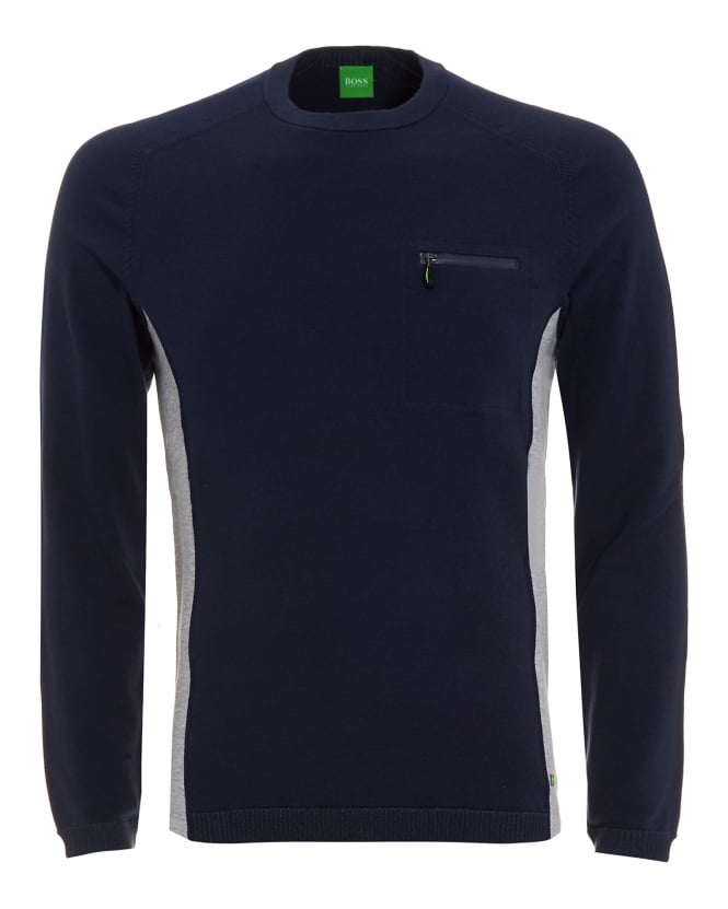 Hugo Boss Green Mens Riker Jumper, Panel Knit Navy Sweater