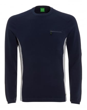 Mens Riker Jumper, Panel Knit Navy Sweater