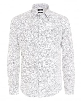 Mens Ronni 5F Geometric Slim Shirt White