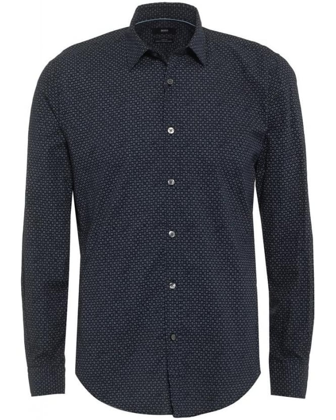 Hugo Boss Black Mens Ronni Shirt, Graphic Print Dark Blue Slim Fit