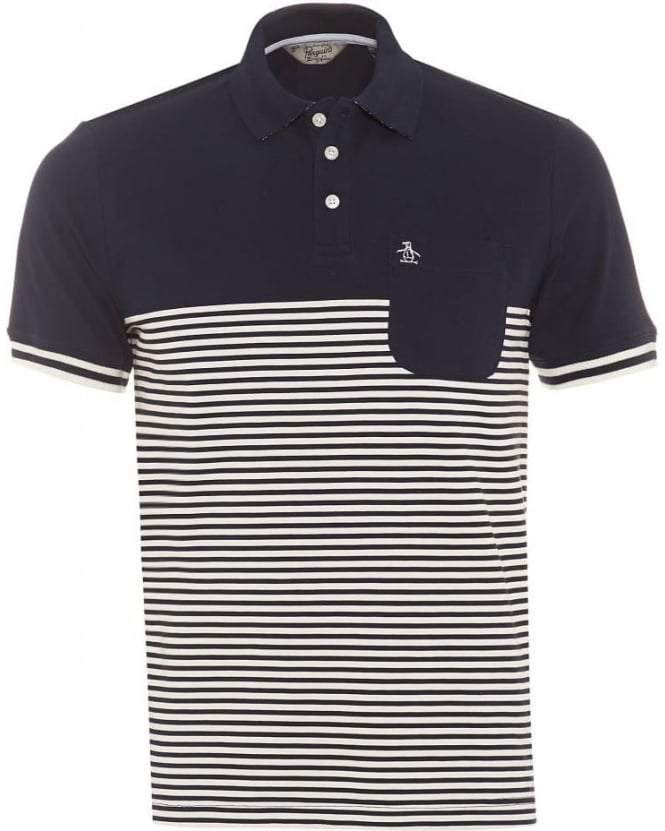 Original Penguin Mens Ryda Polo Shirt, Navy Stripe Slim Fit Polo