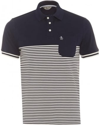 Mens Ryda Polo Shirt, Navy Stripe Slim Fit Polo