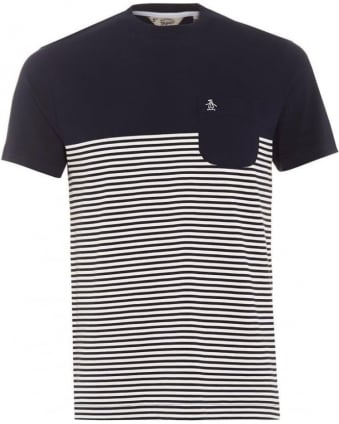 Mens Ryda T-Shirt, Navy Stripe Slim Fit Tee
