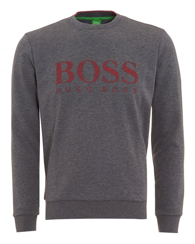 Hugo Boss Green Mens Salbo Jumper, Logo Fleck Sweatshirt Grey