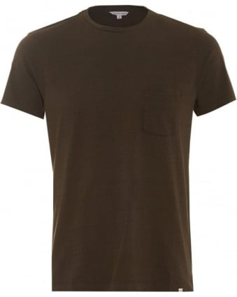 Mens Sammy 2 T-Shirt, Olive Green Pocket Tee