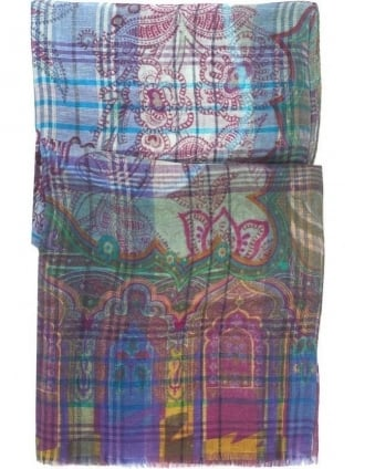 Mens Scarf Small Check Paisley Print Multi-Coloured Scarf