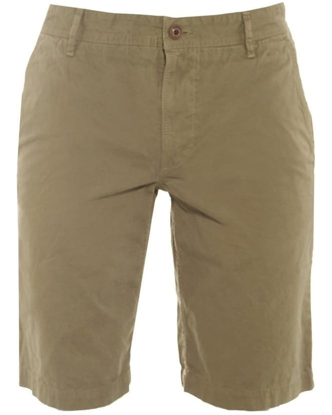 Hugo Boss Orange Mens Schino Chino Shorts, Olive Regular Fit Short