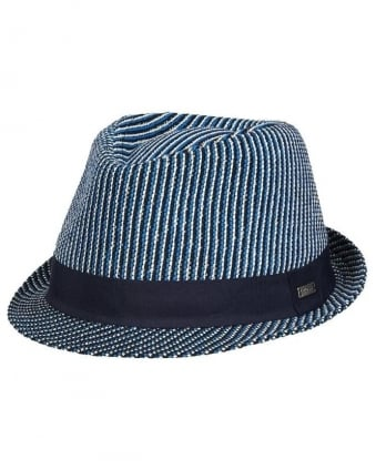Mens Sebino Hat, Blue Striped Trilby