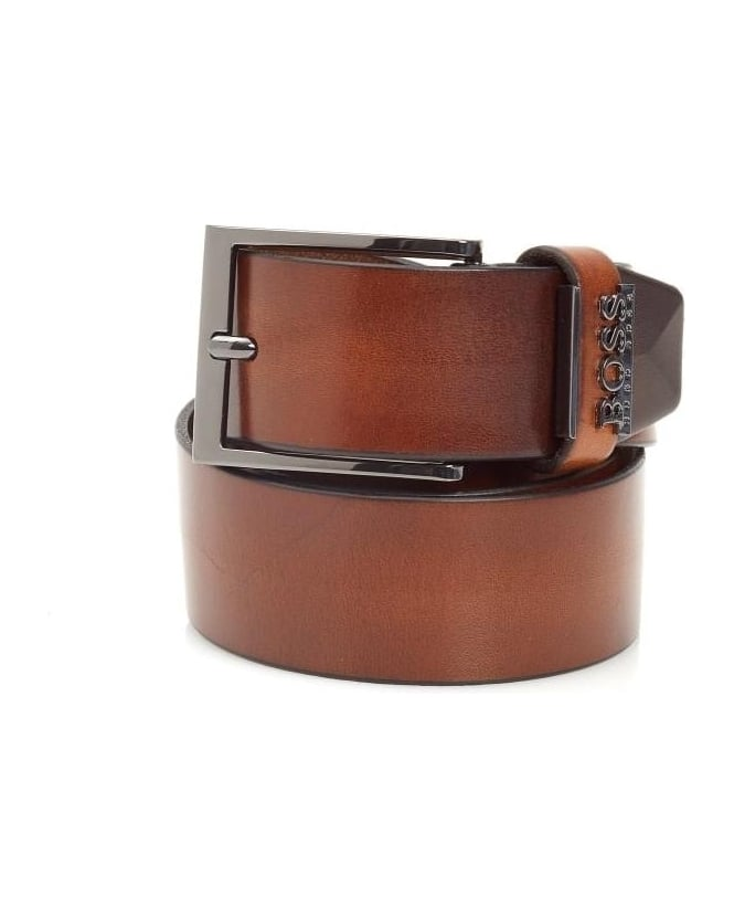 Hugo Boss Black Mens Senol Belt Vintage Leather Brown Belt