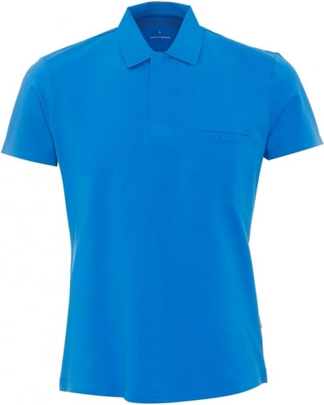 Orlebar Brown Mens Seth Polo Shirt, Dark Butterfly Blue Stretch Cotton Zip Polo