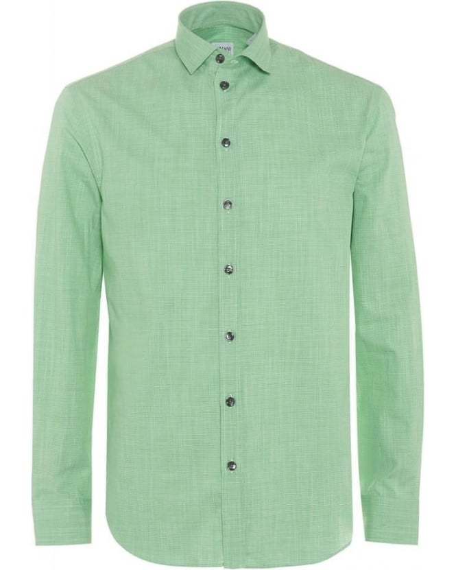 Armani Collezioni Mens Shirt, Apple Green Micro Print Modern Fit Cotton Shirt
