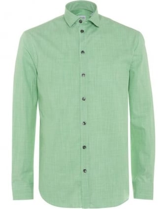 Mens Shirt, Apple Green Micro Print Modern Fit Cotton Shirt