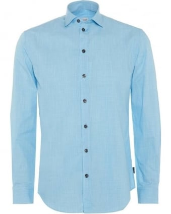 Mens Shirt, Aqua Blue Micro Print Modern Fit Cotton Shirt