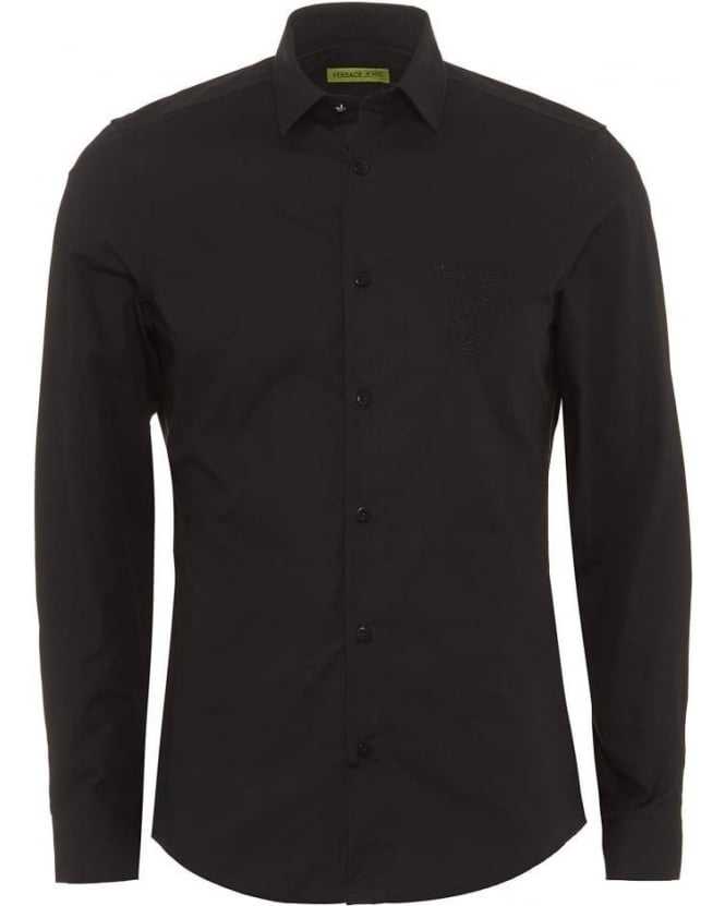 Versace Jeans Mens Shirt Black Slim Fit Cotton Plain Shirt