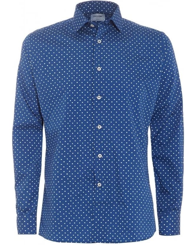 Duchamp Mens Shirt Blue and White Polka Dot Shirt