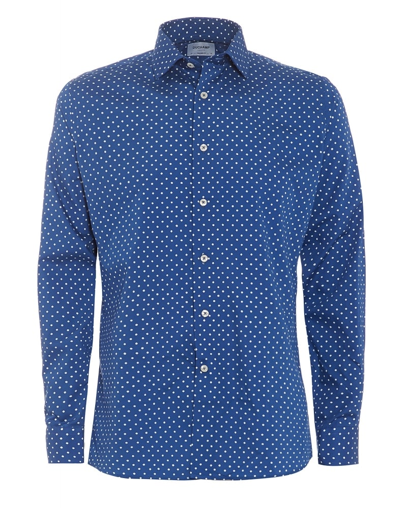 Mens Shirt Blue and White Polka Dot Shirt