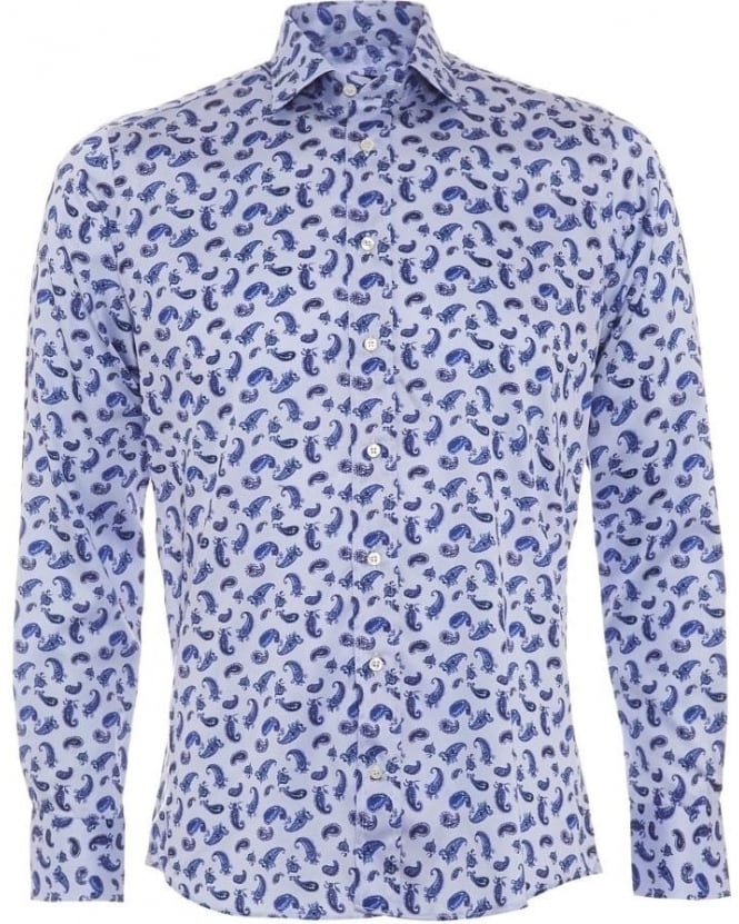 Etro Mens Shirt, Blue Paisley Print Regular Fit Shirt