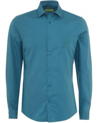 Mens Shirt Blue Slim Fit Cotton Plain Shirt