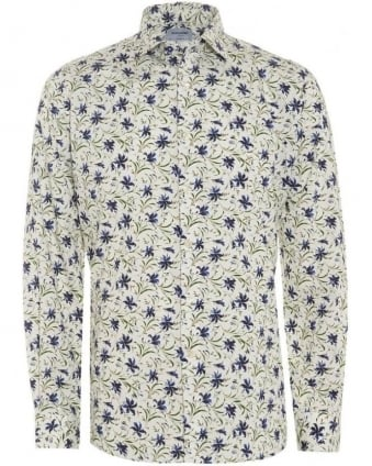 Mens Shirt Bluebell Ivory Navy Whispy Floral Print Shirt