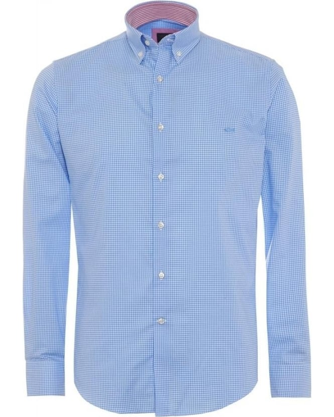 Paul and Shark Mens Shirt Button Down Check Sky Blue Shirt